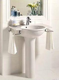 Small powder room pedestal sink shelf google search - Small powder room sinks ...