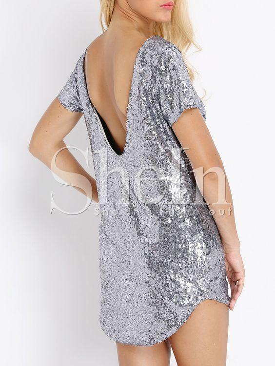 rückenfreies+Kleid+Kurzarm+mit+Pailletten-silber+16.74