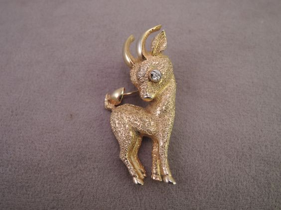 Adorable Signed Hattie Carnegie Gold Tone Goat Pin 1950s by thejeweledbear on Etsy