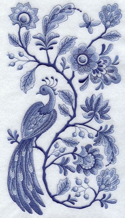 "Embroidered Delft Blue Peacock & Flowers Panel"" Quilt Block:"