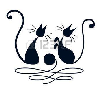 Dessin noir et blanc deux chats noirs jouant avec pelote - Dessin fond noir ...