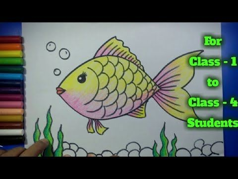 Easy Fish Drawing For Kids Art For Class 1 Art For Class 2