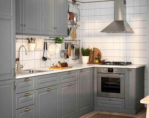 картинки по запросу Szara Kuchnia Ikea Bodbyn Kitchen