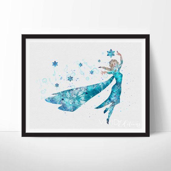 Princess Elsa, Frozen Disney Princess Baby Girl Nursery Art, Watercolor Art, Wall Decor, Modern Baby Room Print, Wall Art Not Framed, No. 46