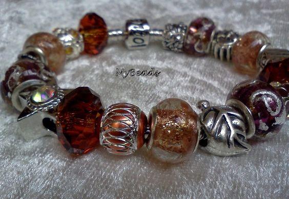 Original Elemento Bead Armband aus rhodiniertem Edelstahl mit Clipverschluss, komplett mit tollen Metall Beads teilweise mit Kristallsteinen, Emailleb
