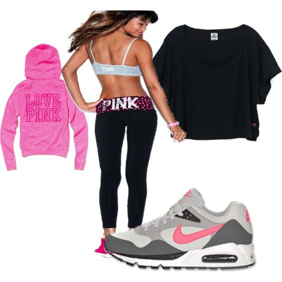 Time to work out!, created by karen-bachman on Polyvore  Victoria's Secret Pink yoga legging, hoody, t-shirt and Nike Air Max (need these)