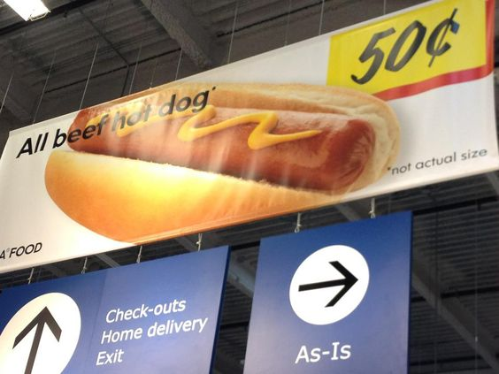 Thanks IKEA for clarifying that this hotdog picture isn't the actual size of the hotdog!
