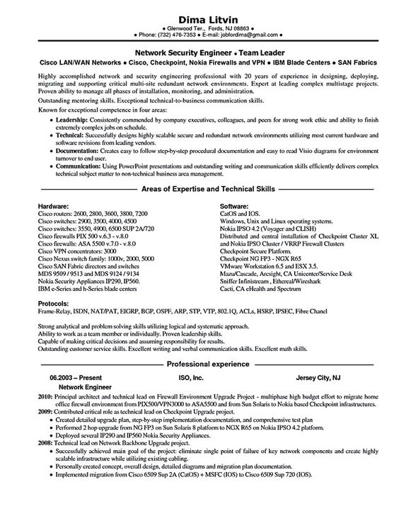 Emphasize Your Skills in Your Network Engineer Resume share - network security resume