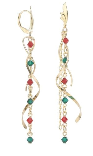 Earrings with Swarovski Crystal Beads and Gold-Filled Chain - Fire Mountain Gems and Beads