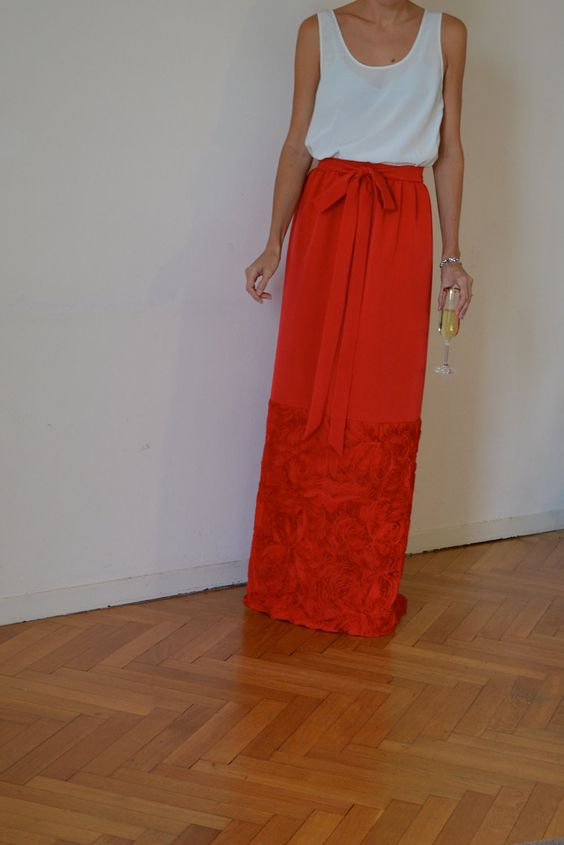Red silk maxi skirt / long elegant evening skirt in Valentino red ...