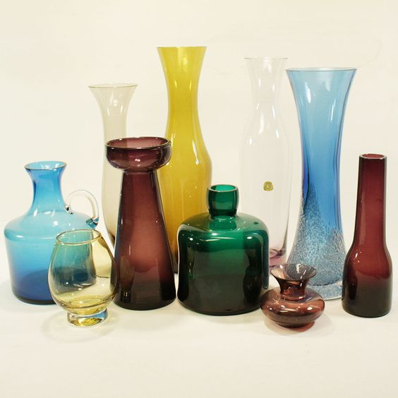 10 GLASVASEN 50ER 60ER JAHRE LILA BLAU GELB GRÜN SAMMLUNG GLASS VASE MID CENTURY