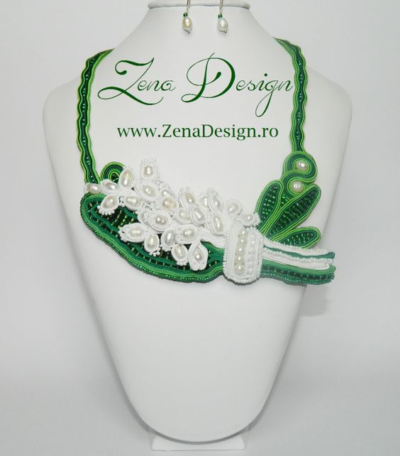 "Soutache Necklace ""Bouquet of lily of the valley"" 