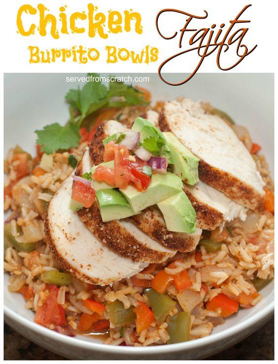 Chicken Fajita Burrito Bowls - skip the tortilla and toss it all in a bowl!