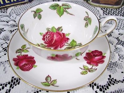 ROYAL CHELSEA ENAMEL RED ROSES TEA CUP AND SAUCER