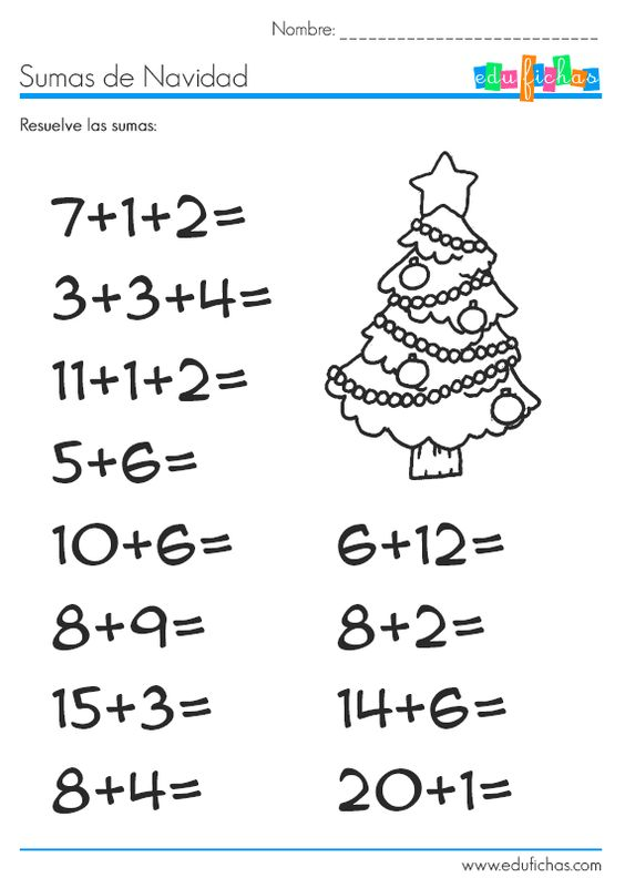 Sumas de navidad for Actividades con cartulina para ninos