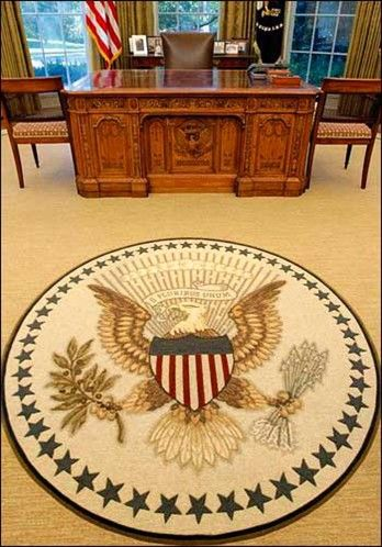 The oval office the carpeting can be changed with a Oval office decor by president