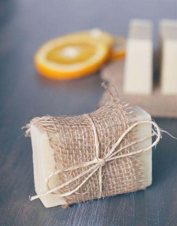 DIY: orange + tea tree soap with recipe.  Pretty wrapped with burlap