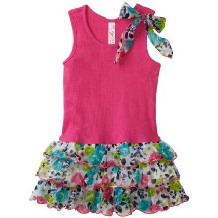 Love U Lots Girls 7-16 Drop Waist Dress With Floral Tiers And Bow $47.00
