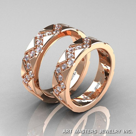 Classic Armenian 14K Rose Gold Diamond Wedding Band by artmasters, $2199.00