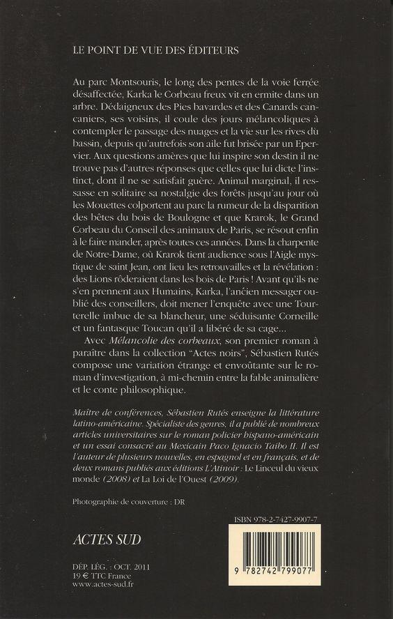 Actes Noirs - 2011-09 - Sébastien Rutés - Mélancolie des Corbeaux - Verso