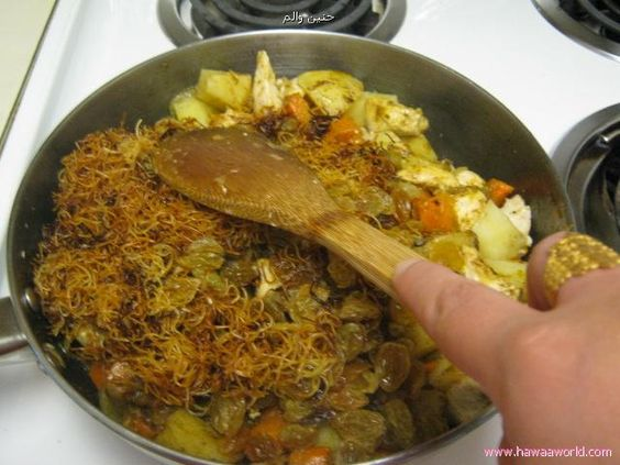 Image result for heat the reserved oil and sauté onion until its tender then add green peas, shredded chicken meat, raisins, black pepper powder, saffron leaves, almonds, the prepared meat balls potato and carrot