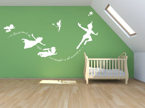 Peter Pan Wall decal sticker custom mural second by Quirkyworks33