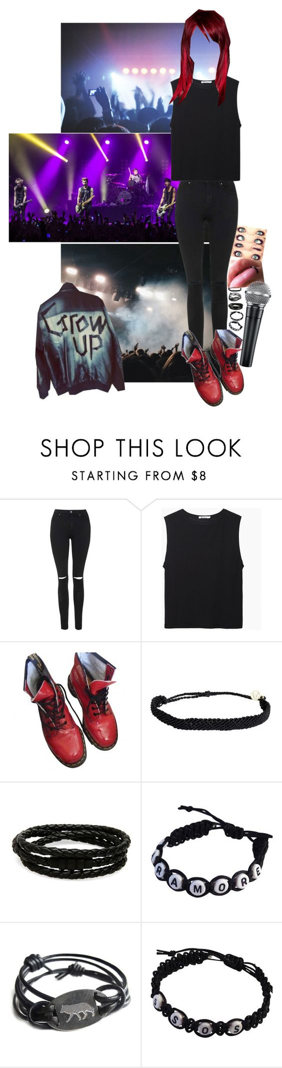 """Casual. Show with 5sos. Black and red. Red hair and ripped jeans. Black tanks and bracelets. Dr martens and graphic jackets. Lip rings and microphones."" by avintagemystery ❤ liked on Polyvore featuring Topshop, T By Alexander Wang, Dr. Martens, Pura Vida and Porsche Design"