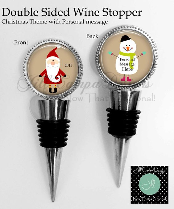 CHRISTMAS WINE STOPPER - 2 sided Wine Stopper - Santa Wine stopper - Snowman Wine Stopper - personal message - gift for wine lover by NowThatsPersonal on Etsy