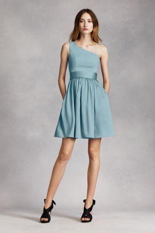 Short One Shoulder Dress with Satin Sash Style VW361260 - Satin ...