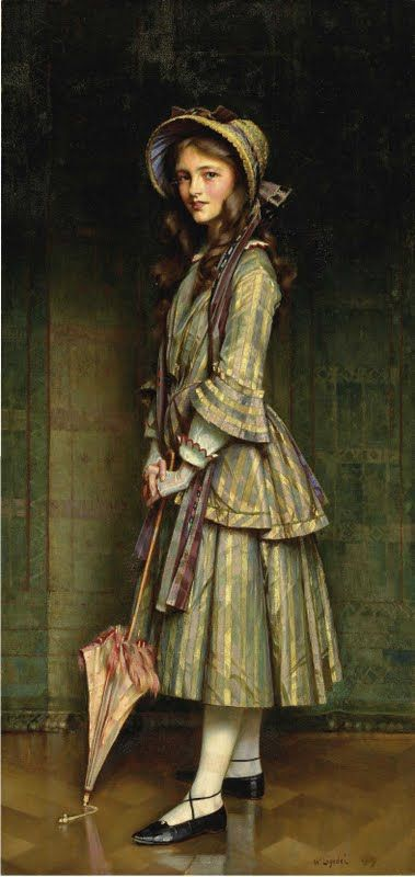 An Early Victorian - 69½ X 33½ in.  by   William Logsdail, R.B.C. (1859-1944)