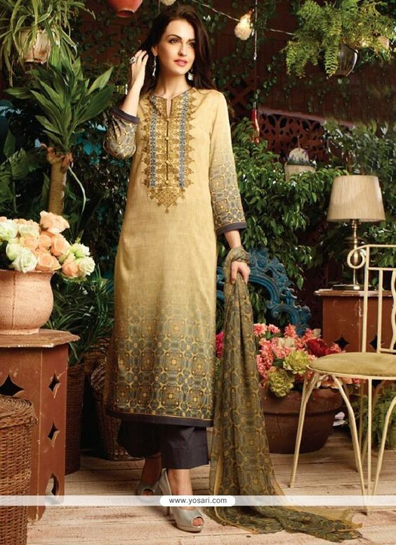 Lively Print Work Cotton Satin Multi Colour Designer Straight Salwar Kameez…