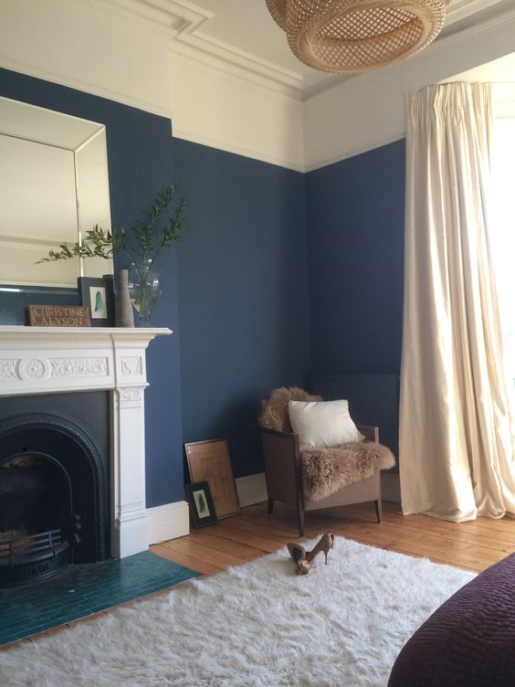 Dark blue walls bedroom Hicks Blue