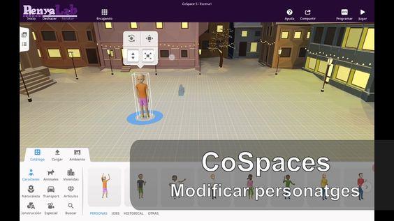 CoSpaces – Afegir personatges i modificar-los