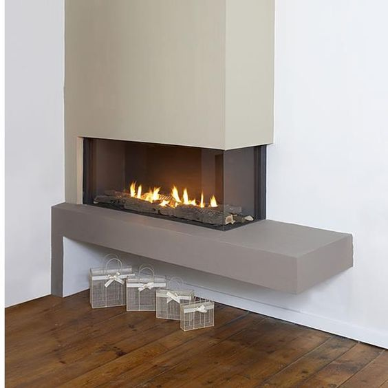 clean corner raised placement fireplaces pinterest