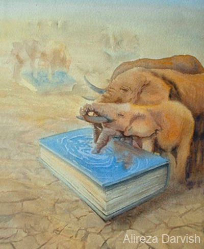 books water and refresh you....two of my favorites - books & elephants.