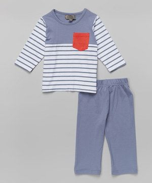 Look what I found on #zulily! Blue Stripe Top & Blue Pants - Infant, Toddler & Boys by Feathers USA #zulilyfinds