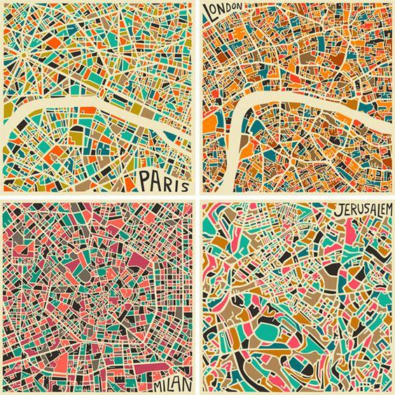 Jazzberry Blue Cartes Plans Abstraits Villes 1 Jazzberry Blue : Cartographies Abstraites des Grandes Villes