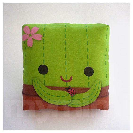 Decorative Pillow, Cactus Pillow, Throw Pillow, Green Pillow, Kawaii, Room Decor, Dorm Decor ...