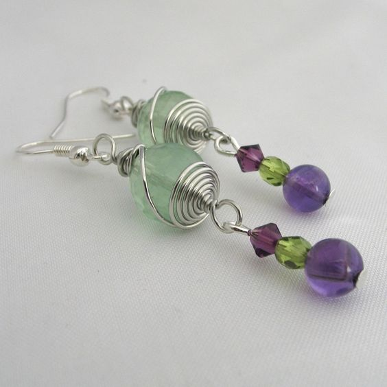 Faceted Fluorite with Amethst and Swarovski