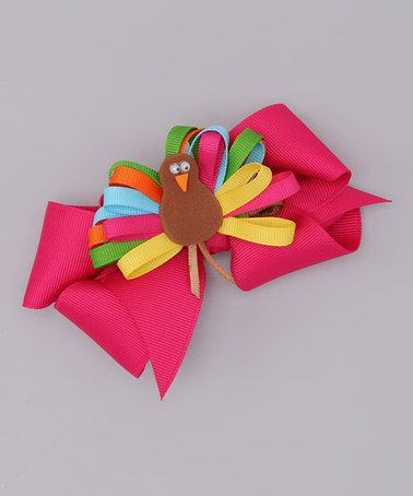 Take a look at this Pink Bow & Rainbow Turkey Clip by Picture Perfect Hair Bows on #zulily today!
