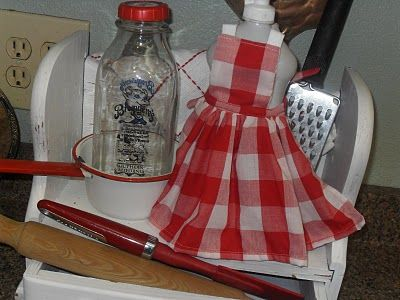 red and white checked mini apron