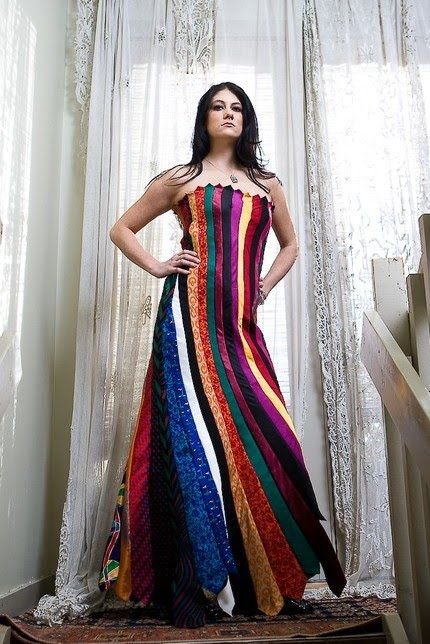 Dress made from upcycled men's ties!