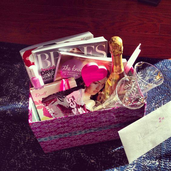 Wedding Gift Basket Notes : Engagement Gift Basket 1. Wedding magazines 2. GQ for the groom 3 ...