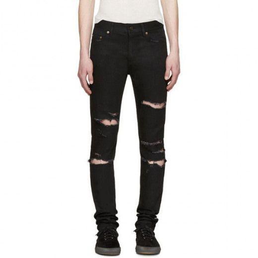 Vaqueros Pitillo De Hombre Rasgados De Los Hombres Flaco Pantalones Rasgado He Black Skinny Jeans Boys Mens Distressed Skinny Jeans Ripped Jeans Men