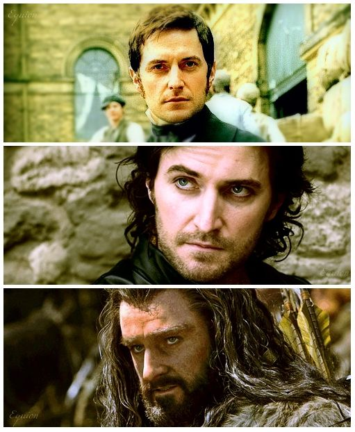Richard Armitage as Mr. Thornton (North and South), Guy of Gisborn (Robin Hood), and Thorin Oakenshield (The Hobbit). I LOVE all of these things!