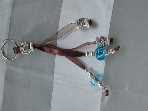 Ribbon and beaded keychain by CurleeSue on Etsy, $15.00