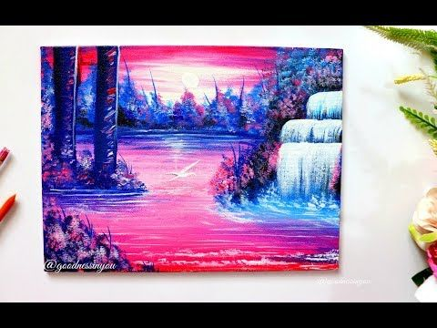 Step By Step Moonlight Waterfall Painting For Beginners Youtube