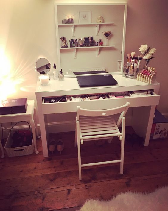 Beauty room with IKEA Malm dressing table. There's so many ways to dress it up!