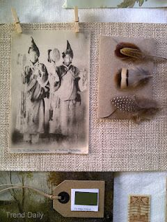 #moodboards #feathers #vintage postcard by Trend-Daily