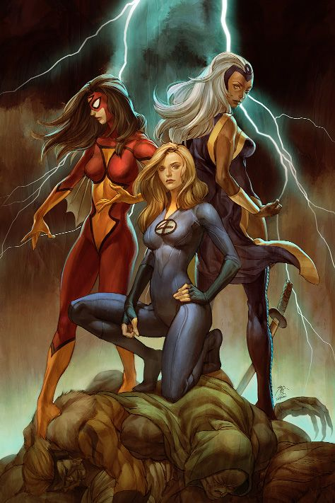 Spider-Woman, Sue Storm & Storm - Jo Chen  Auction your comics on http://www.comicbazaar.co.uk
